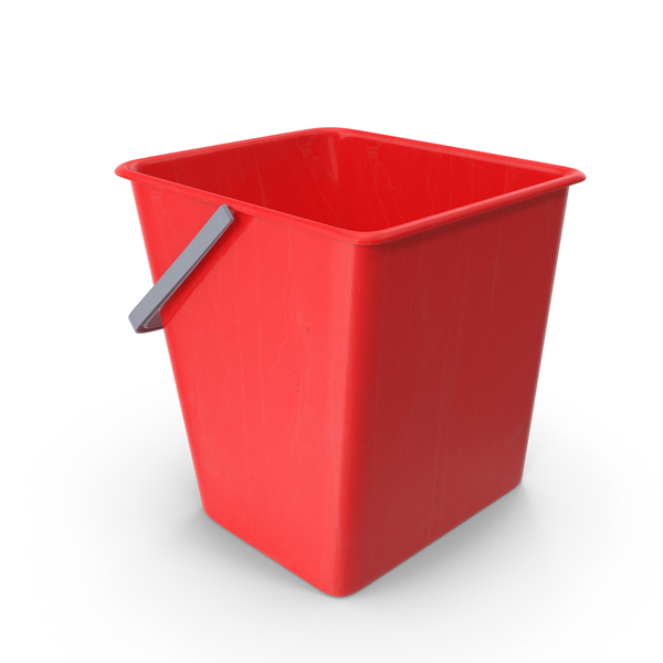 Square Cleaning Bucket Red PNG & PSD Images