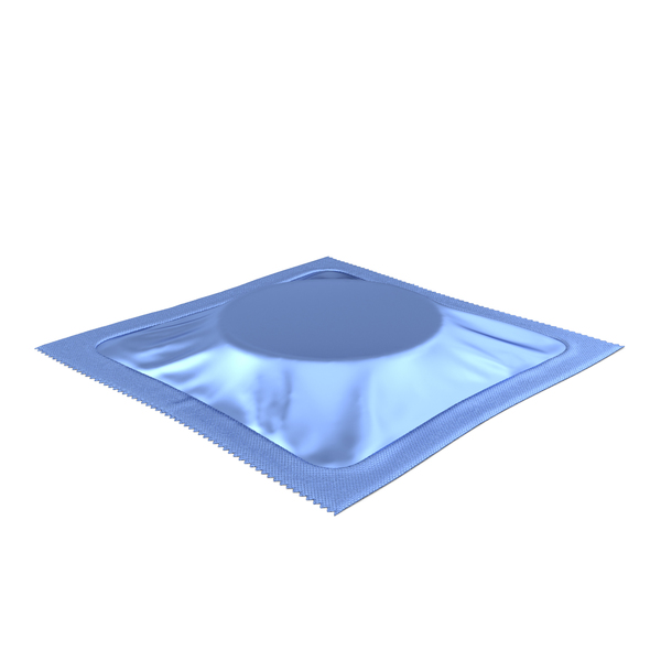 Square Condom Packaging Blue PNG & PSD Images