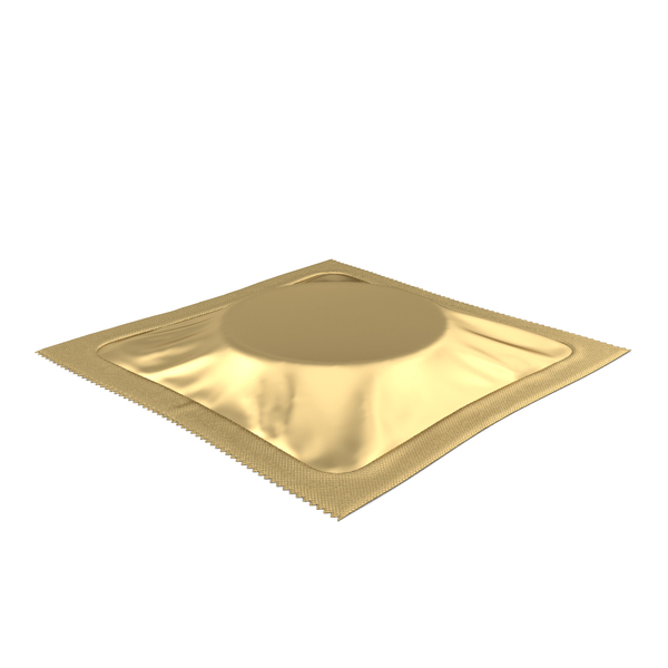 Square Condom Packaging Gold PNG & PSD Images