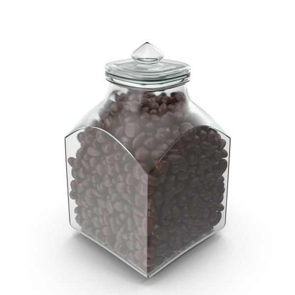 Square Jar with Almond Chocolate Candy PNG & PSD Images