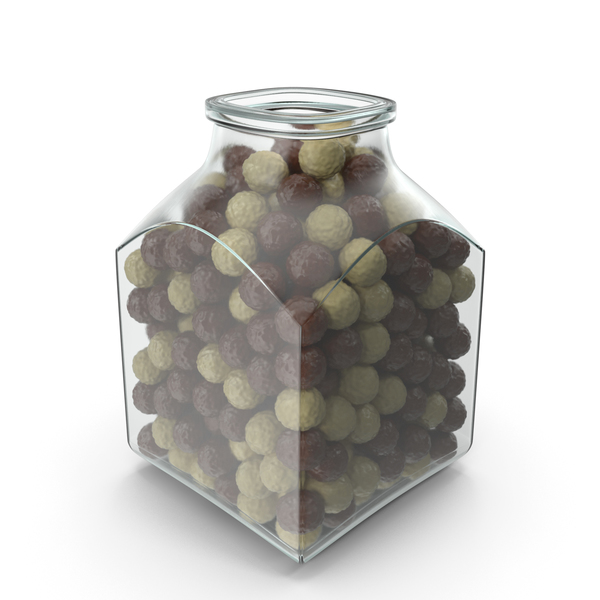Square Jar with Chocolate Balls PNG & PSD Images