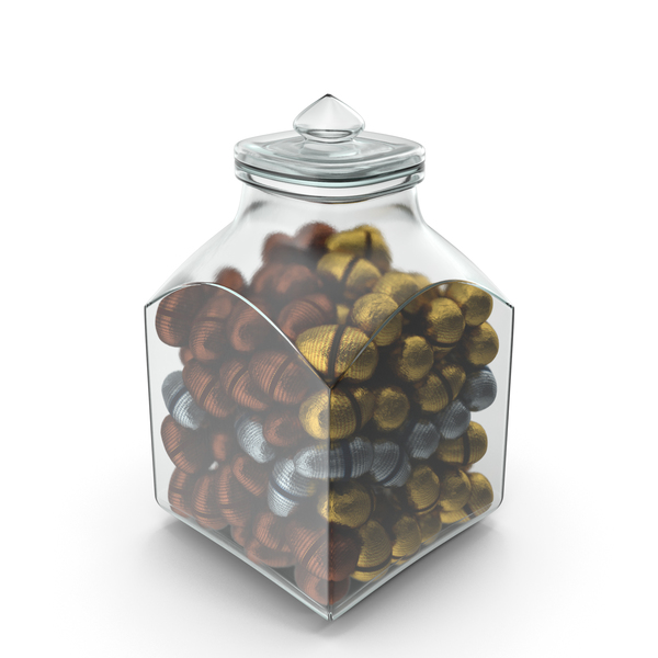 Square Jar with Fancy Wrapped Chocolate Easter Eggs PNG & PSD Images