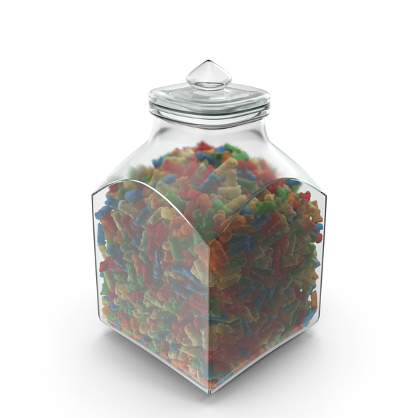 Square JAR with Gummy Bears PNG & PSD Images