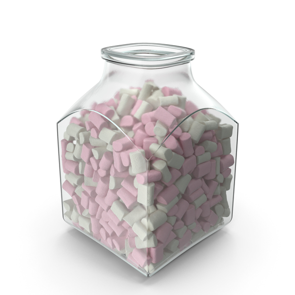 Square Jar with Marshmallows PNG & PSD Images