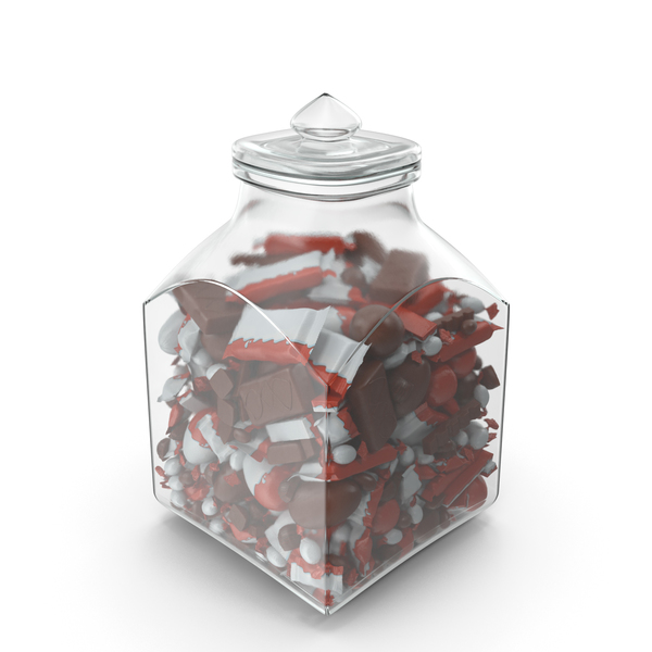 Square Jar with Mixed Chocolate Candies PNG & PSD Images