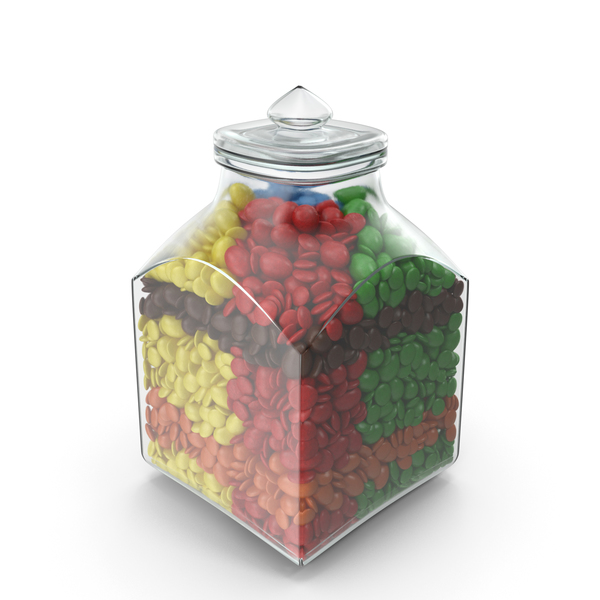 Square Jar with Mixed Color Coated Chocolate Candy PNG & PSD Images