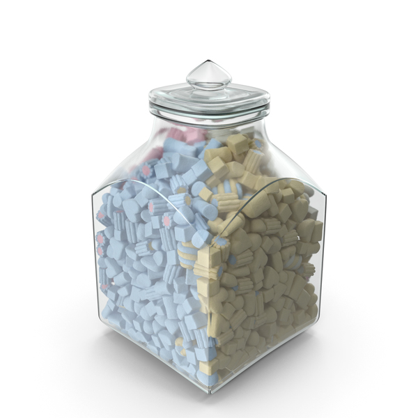 Square Jar with Mixed Marshmellows PNG & PSD Images