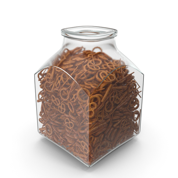 Square Jar With Mixed Pretzels PNG & PSD Images