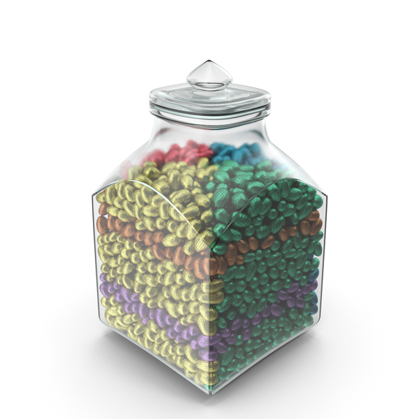 Square Jar with Small Wrapped Chocolate Easter Eggs PNG & PSD Images