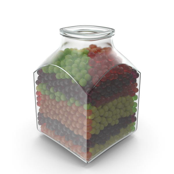 Square Jar with Spherical Hard Candy PNG & PSD Images