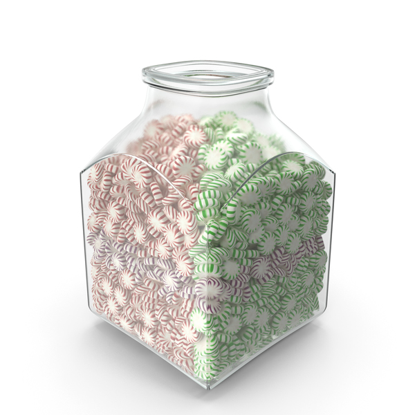 Square Jar with StarLight Peppermint Candy PNG & PSD Images