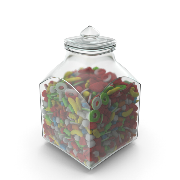 Bear: Square Jar with Sugar Coated Gummy Candy PNG & PSD Images