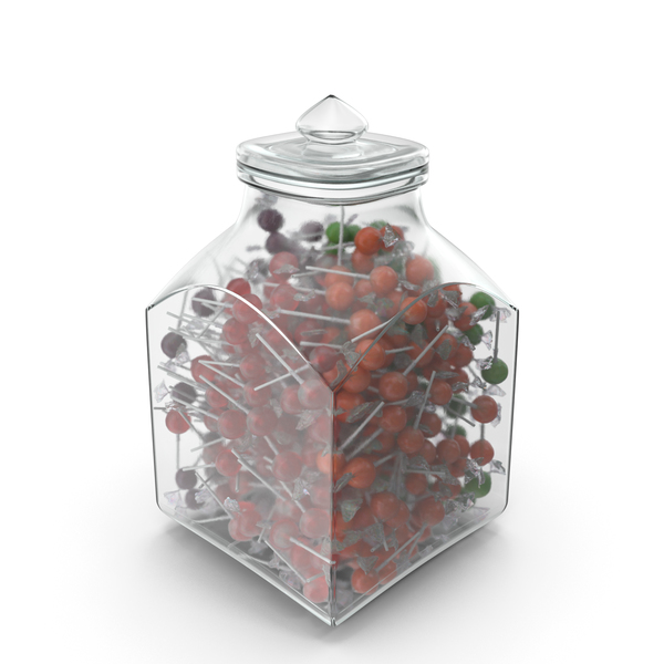 Square Jar With Wrapped Lollipops PNG & PSD Images