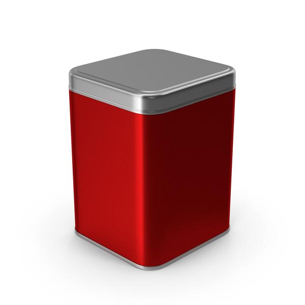 Square Metal Jar Red PNG & PSD Images