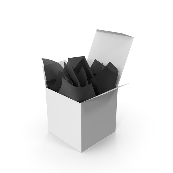 Square Packaging Box with Black Gift Paper PNG & PSD Images