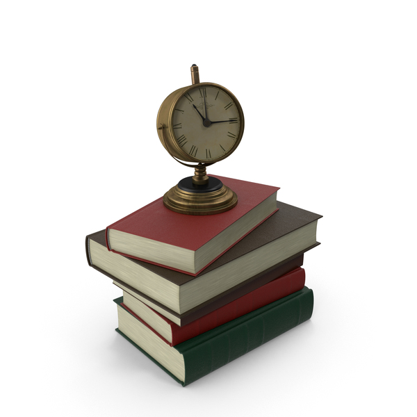 Stack of Books With Clock PNG & PSD Images
