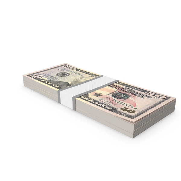 Stack of Fifty Dollar Bills PNG & PSD Images