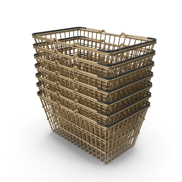 Shopping Basket: Stack of Gold Supermarket Baskets With Black Plastic PNG & PSD Images