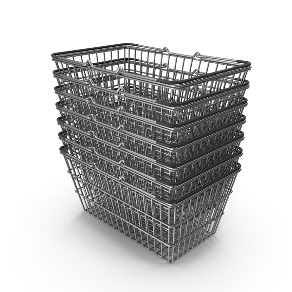 Stack of Supermarket Baskets with Black Plastic PNG & PSD Images