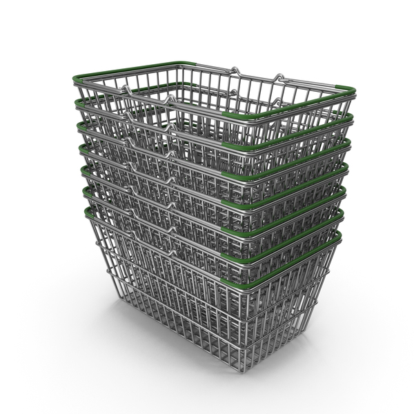 Stack of Supermarket Baskets with Green Plastic PNG & PSD Images