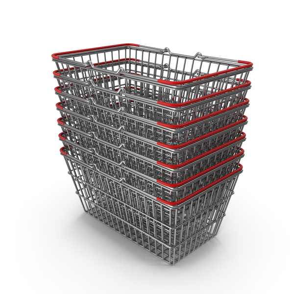 Shopping Basket: Stack of Supermarket Baskets with Red Plastic PNG & PSD Images