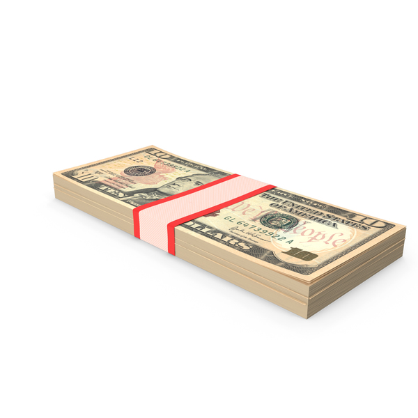Stack of Ten Dollar Bills V1 PNG & PSD Images
