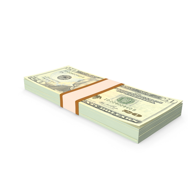 Stack of Twenty Dollar Bills PNG & PSD Images