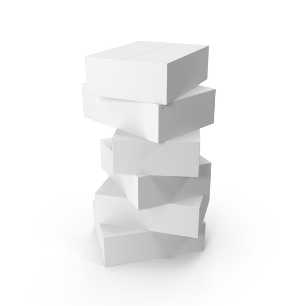Cardboard Box: Stack of White Boxes PNG & PSD Images