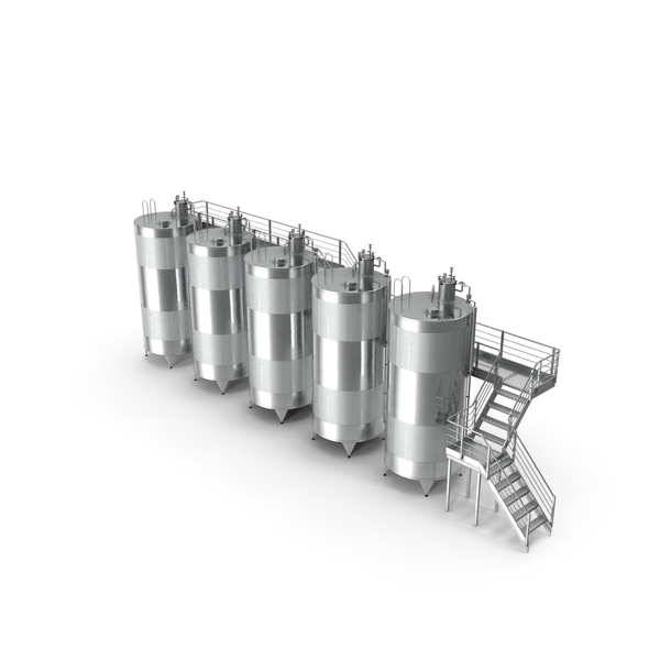 Stainless Steel Wine Tanks Set with Stairs PNG & PSD Images