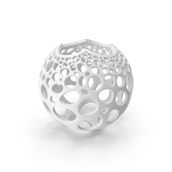Abstract Sculpture: Stereographic Voronoi Sphere PNG & PSD Images