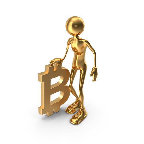 Stickman Holding Bitcoin PNG & PSD Images