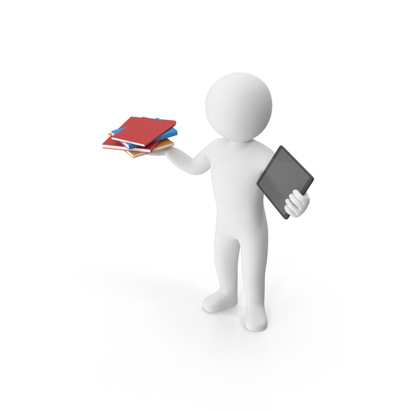 Stickman Holding Books And Tablet PNG & PSD Images