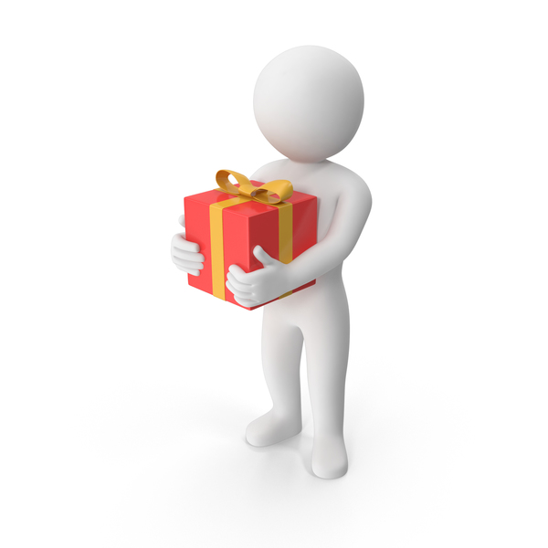 Stickman Holding Present PNG & PSD Images
