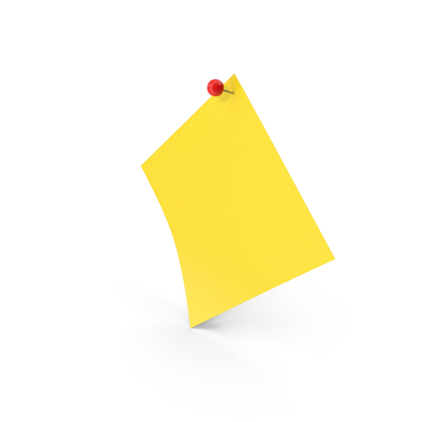 Office Supplies: Sticky Note With Sphere Push Pin PNG & PSD Images