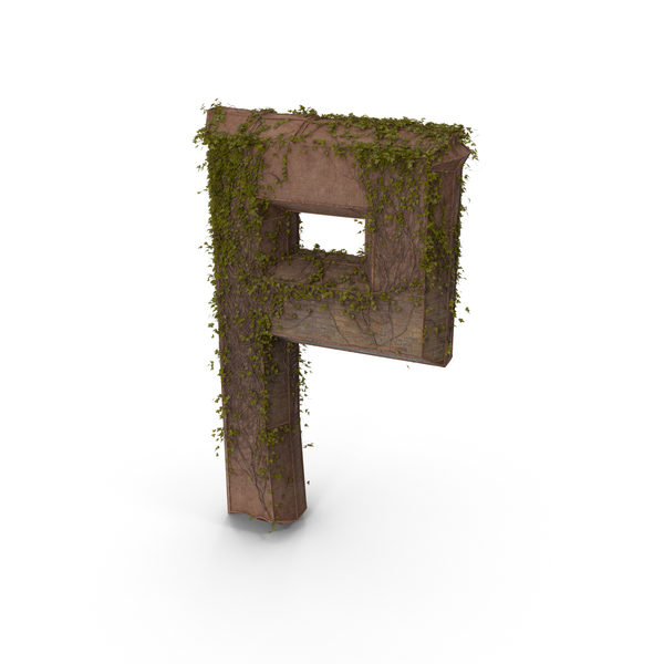 Stone With Ivy Letter P PNG & PSD Images