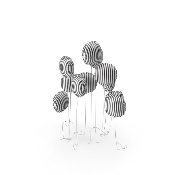 Striped Balloon Set PNG & PSD Images
