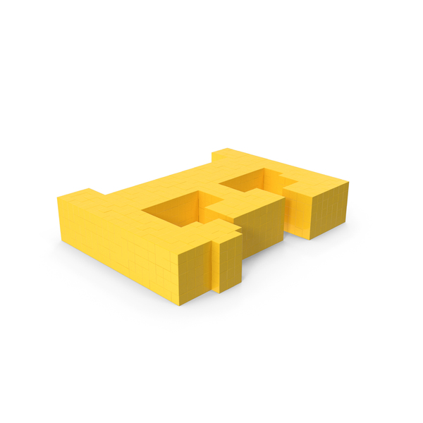 Stylised Cartoon Voxel Pixel art letter E on ground PNG & PSD Images