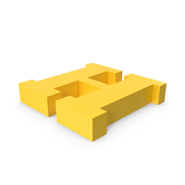 Stylized Cartoon Voxel Pixel Art Letter H on Ground PNG & PSD Images