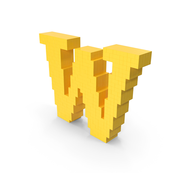 Stylized Cartoon Voxel Pixel Art Letter W PNG & PSD Images