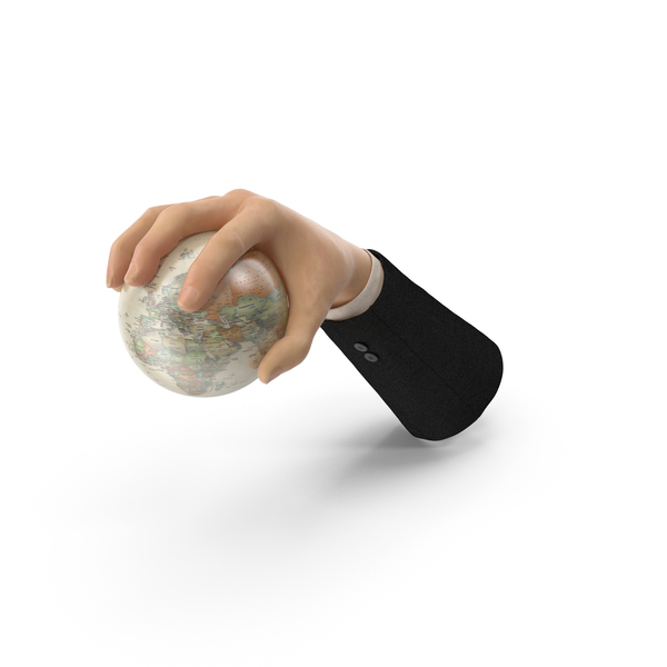 Suit Hand Grabbing a Vintage Globe PNG & PSD Images