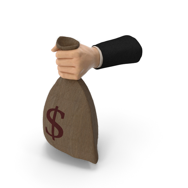 Sign: Suit Hand Holding a Dollar Bag PNG & PSD Images