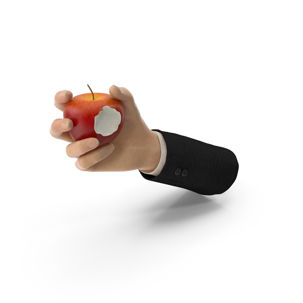 Suit Hand Holding an Apple with Bite PNG & PSD Images