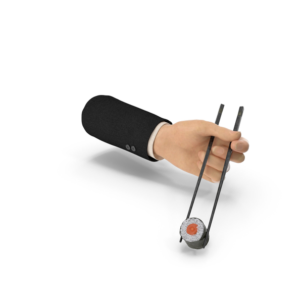 Suit Hand Holding Chopsticks with Sushi PNG & PSD Images