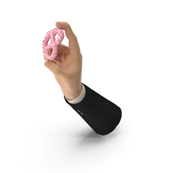 Suit Hand Holding Strawberry Yogurt Covered Pretzel PNG & PSD Images