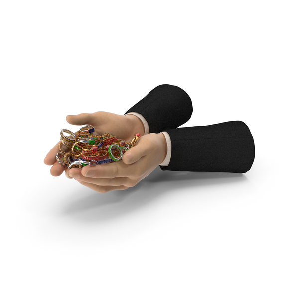 Hand: Suit Handful of Mixed Rings PNG & PSD Images
