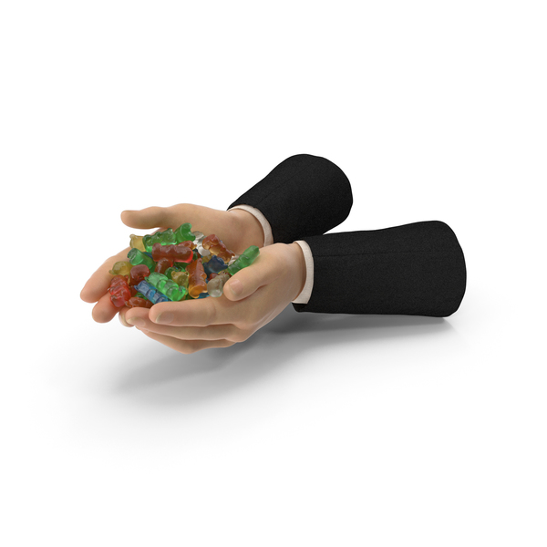 Suit Two Hands Handful with Gummy Bears PNG & PSD Images