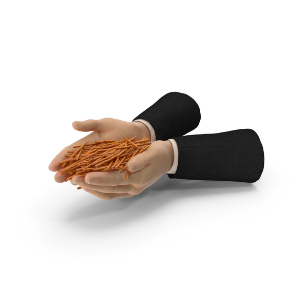 Suit Two Hands Handful with Salty Pretzel Sticks PNG & PSD Images