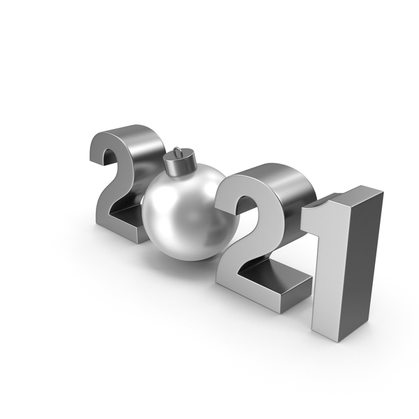 Symbol 2021 with Silver Christmas Ball PNG & PSD Images
