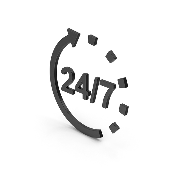 Computer Icon: Symbol 24 / 7 Open Black PNG & PSD Images