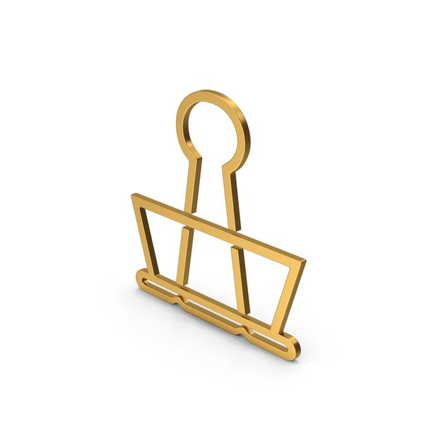 Clips: Symbol Binder Clip Gold PNG & PSD Images